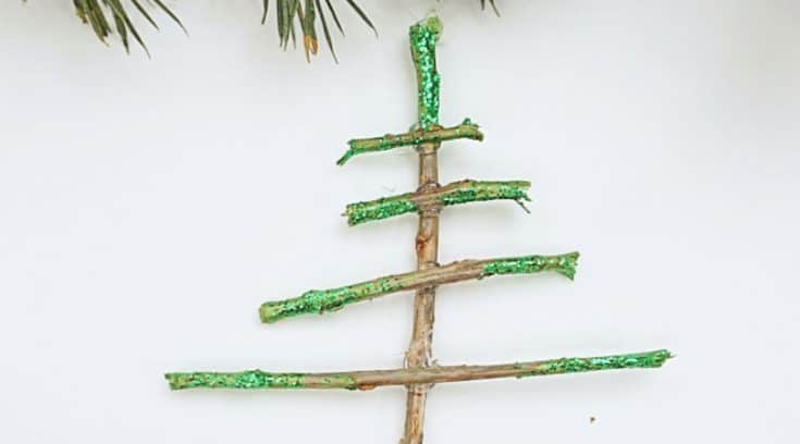 Sparkly tree-shaped Christmas ornaments using sticks