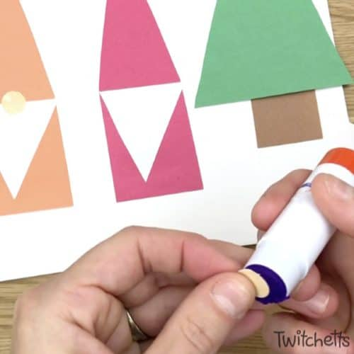 These easy paper gnomes use simple shapes to create. They are perfect for Christmas crafting, learning shapes, or just an afternoon of fun! Plus they use construction paper, which is one of our favorite craft supplies! #papergnomes #christmasgnomes #shapecraft #constructionpaper #gnomeactivity #craftsforkids #christmascraft #classroom #toddler #preschool #twitchetts