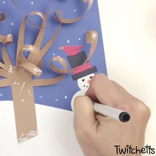 A 3D Winter Tree Craft that will make people say wow! It's an easypaper craft that is perfect for kids of all ages. #wintertree #wintercraft #constructionpaper #3dpapercraft #papertree #twitchetts