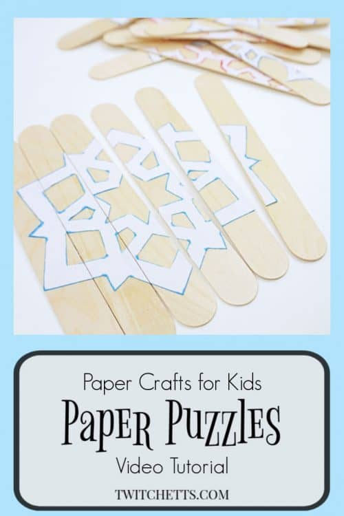 An easy winter puzzle using craft sticks and paper snowflakes. These are great for toddlers, busy bags, car rides, or to hang on your refrigerator while you are making dinner.  #winter #puzzle #snowflake #busybag #carride #roadtrip #activity #toddler #easy #craftstick #howto #twitchetts
