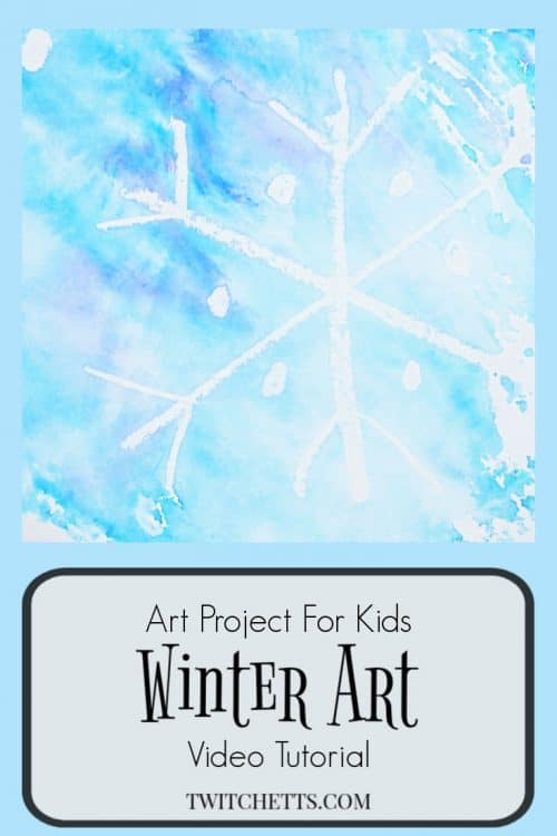 A snowflake art project that is perfect for kids of all ages. We use a fun twist that uses no watercolors. Less mess, more fun! Plus they're learning about color mixing. #snowflake #art #artprojectsforkids @winter #resistpainting #colormixing #preschool #kindergarten #twitchetts