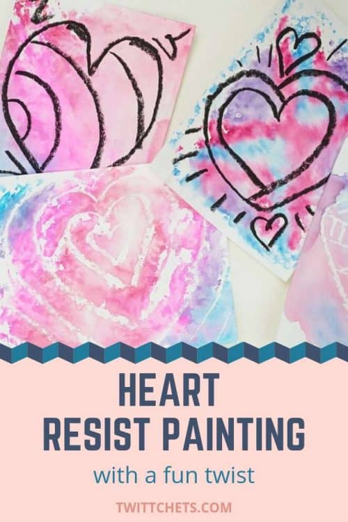 Hearts and Valentine's Day are inseperable! And when you make your Valentine's Day artwork using our heart resist painting technique with a fun twist, it's pure magic! #Twitchetts