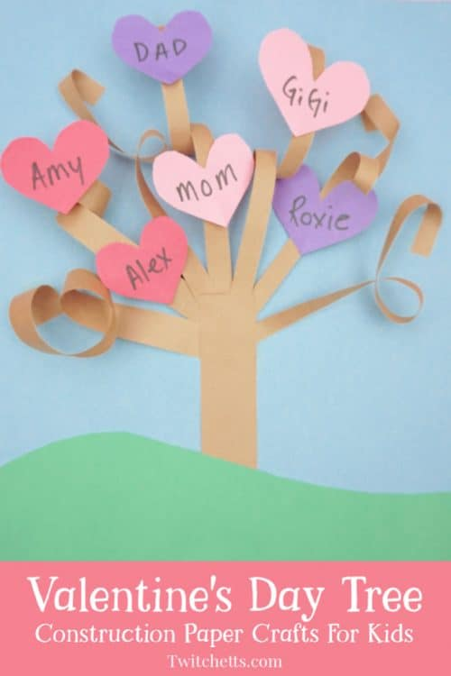 Create a fun 3d Valentine's Day paper tree using a simple kid-friendly technique that is guaranteed to wow! This construction paper craft is perfect for a classroom craft or a winter afternoon activity. It's fun for kids of all ages! #twitchetts