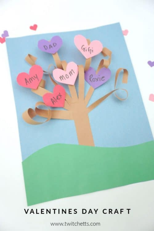 Create fun 3d Valentine's Day paper trees using a simple kid-friendly technique that is guaranteed to wow! This construction paper craft is perfect for a classroom craft or a winter afternoon activity. It's fun for kids of all ages! #twitchetts