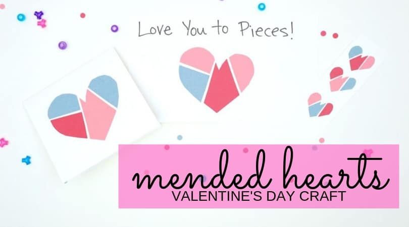 mended paper heart crafts project for kids