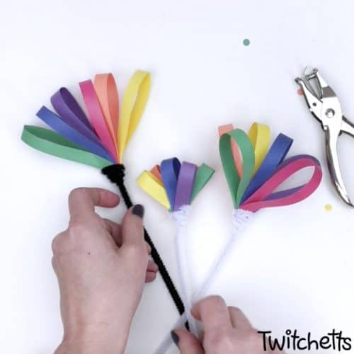crafting rainbow paper flowers with kids for st.patricks day #twitchetts