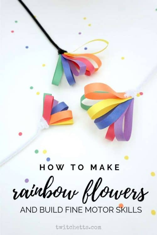 How to Use Rainbow Paper Flowers to Build Fine Motor Skills #Twitchetts