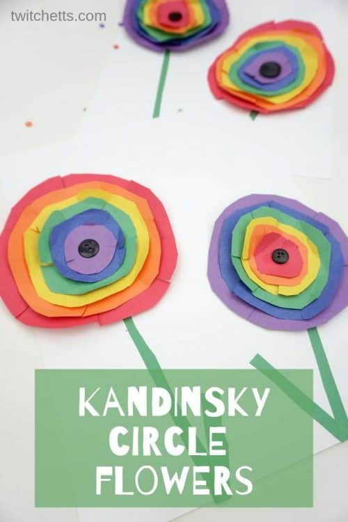 How to make Kandinsky inspired rainbow circle flower art with kids #Twitchetts