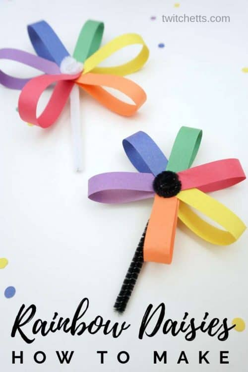 How to make an easy paper daisy in rainbow colors #Twitchetts