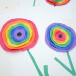 Rainbow Paper Flowers Inspired by Wassily Kandinsky Circles.