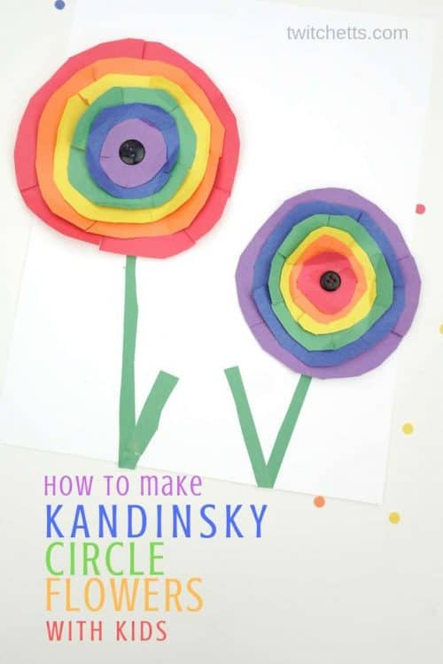 Make Kandinsky inspired rainbow paper flower art with kids #Twitchetts