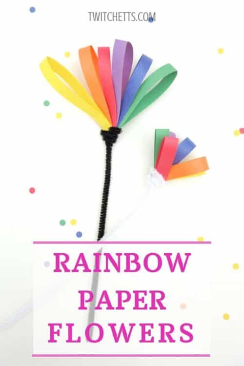 Make Rainbow Paper Flowers with Kids as Fine Motor Practice #twitchetts