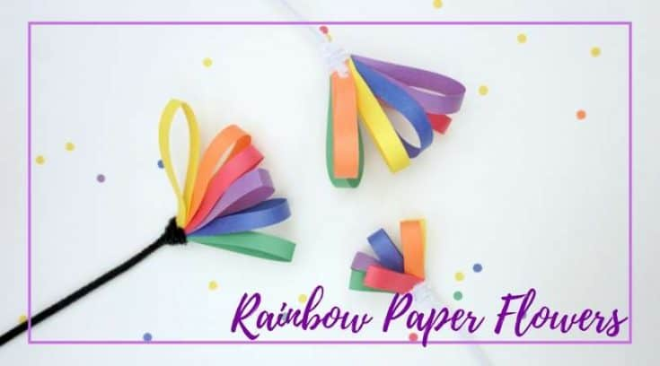 Rainbow paper flowers that build fine motor skills
