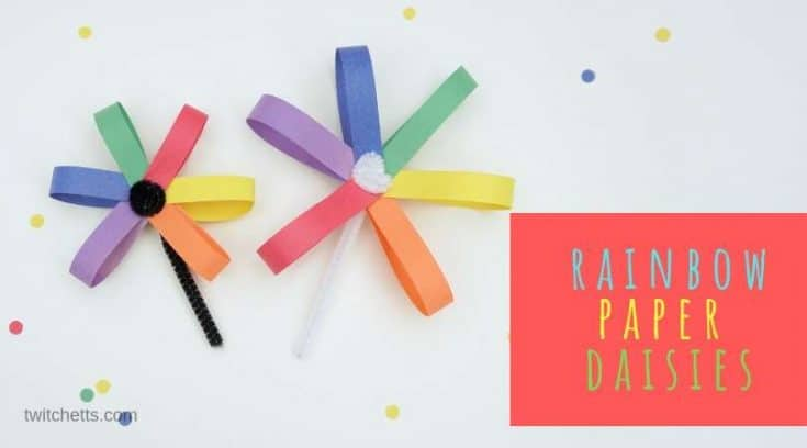 How to make an easy paper daisy using rainbow colors!