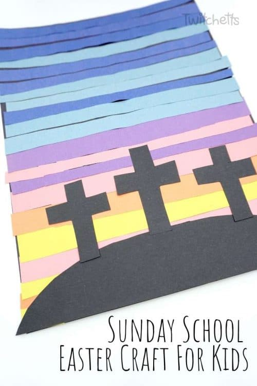 Super Simple Sunday School Easter Craft for Kids with 3 Crosses #Twitchetts