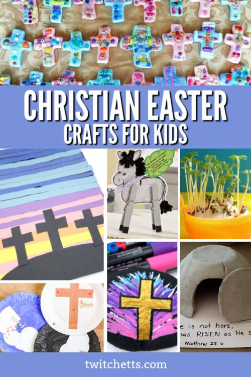 """Images of Religious Easter crafts. Text reads """"Christian Easter Crafts For Kids"""""""