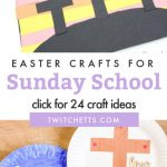 """Images of Religious Easter crafts. Text reads """"Easter Crafts for Sunday School. Click for 24 craft ideas."""""""