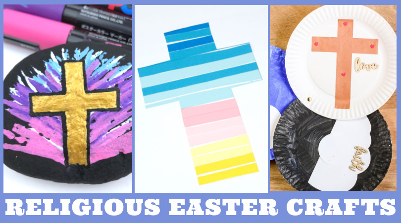 """Images of Religious Easter crafts. Text reads """"Religious Easter Crafts"""""""