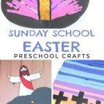 """Images of Religious Easter crafts. Text reads """"Sunday School Easter Preschool Crafts"""""""