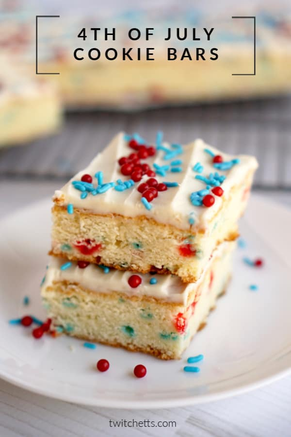 These red, white, and blue cookie bars are delicious and sure to be a hit at your 4th of July party or Memorial Day BBQ. Made from scratch, but super simple.  #twitchetts