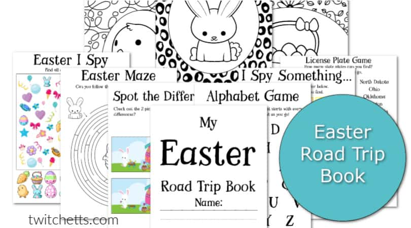 Fun Easter road trip printables that will save your sanity for your next family car ride. #twitchetts