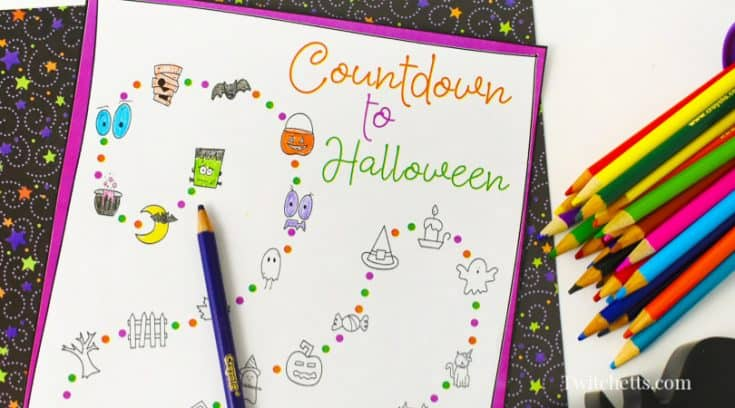 Coloring countdown to Halloween printable