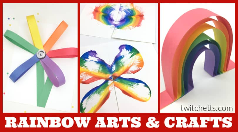 These easy rainbow arts and crafts for kids are perfect for the classroom, Sunday School, or a rainy afternoon with your kids. Find simple rainbow art projects for preschoolers, fun crafts for kindergarten, and rainbow craft templates. #twitchetts