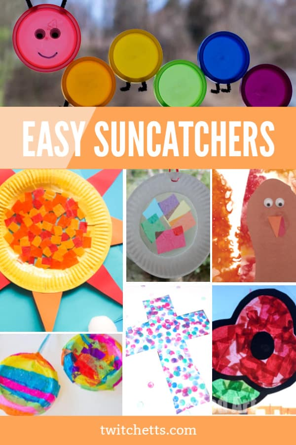 Easy suncatcher crafts for kids of all ages. From preschool to big kids and even toddlers! Great for holidays, seasonal crafts, or just an afternoon of fun. #twitchetts