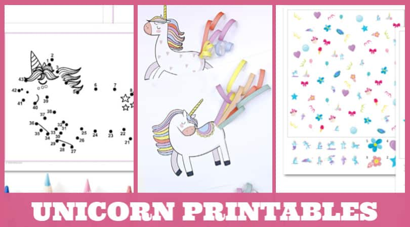 Grab some unicorn printables for kids who are just as obsessed with unicorns as mine are. Coloring pages, craft templates, even unicorn birthday party printables. There is something for everyone in this collection of fun kids printables.
