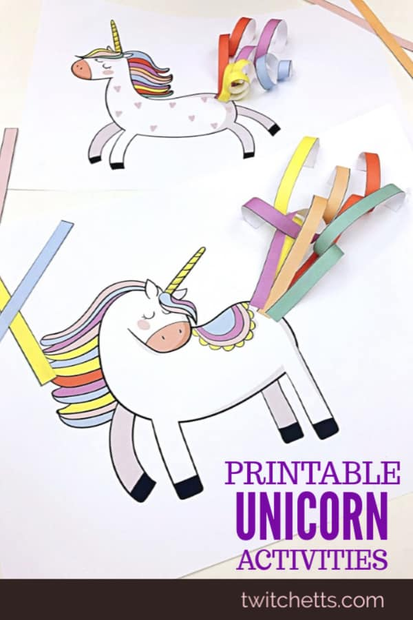 These unicorn craft templates and activities are great for a road trip, a birthday party activity, or just a fun afternoon with your unicorn loving kiddo. #twitchetts