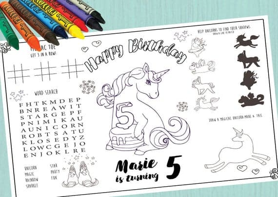 Personalized unicorn placemats