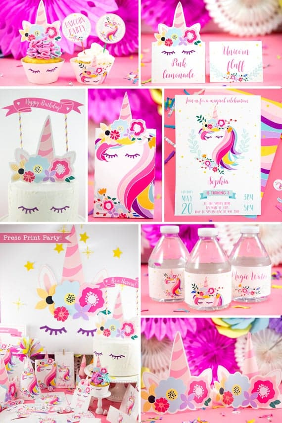 Unicorn Party Supplies Printables