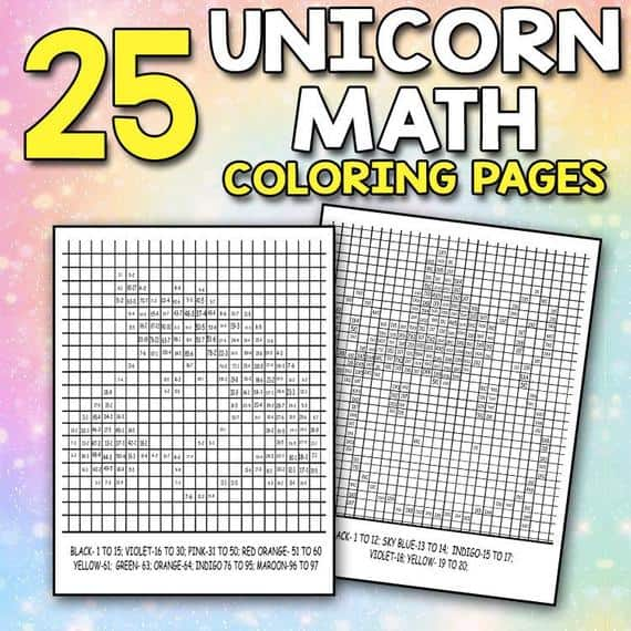 Unicorn Math Coloring Pages