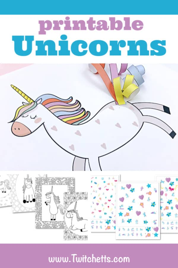 Unicorn printables to create magical memories with your kids. Coloring pages, activities, unicorn birthday parties, and more! #twitchetts