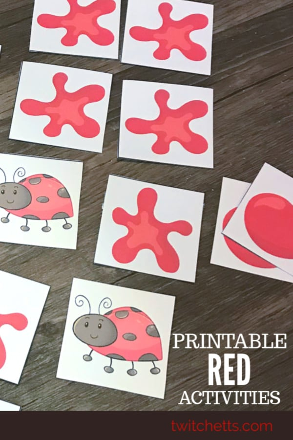color red printables to help your preschooler learn about the color red. #twitchetts