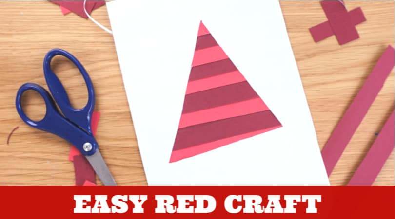 This easy red day art and craft idea is perfect for teaching the color red, practicing cutting skills, or learning about triangles. #twitchetts