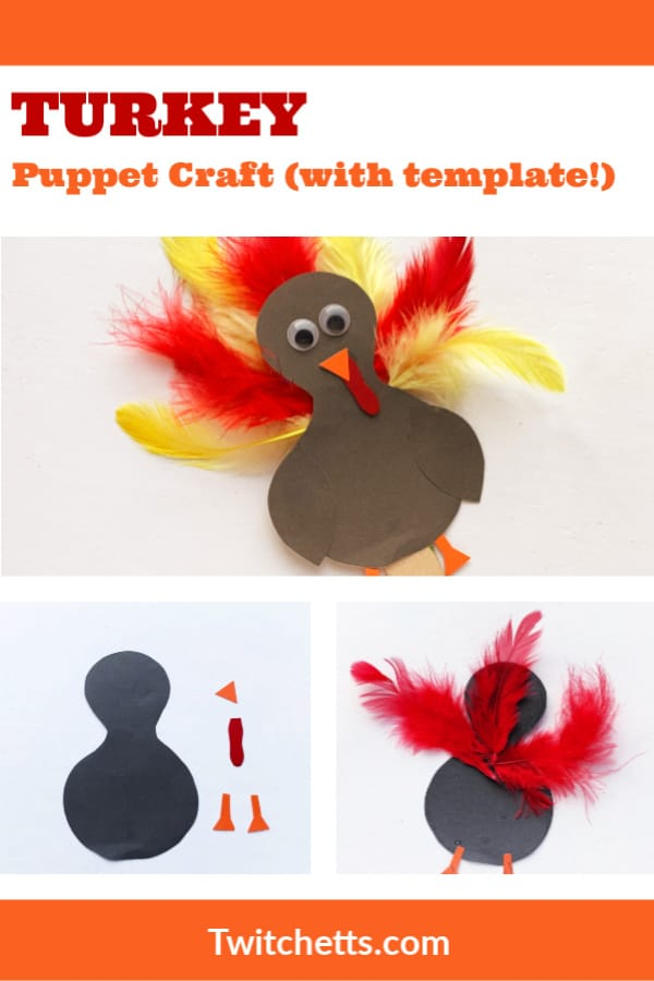 Grab the turkey template and create this fun turkey puppet on a stick. Perfect for Thanksgiving crafting. #twitchetts