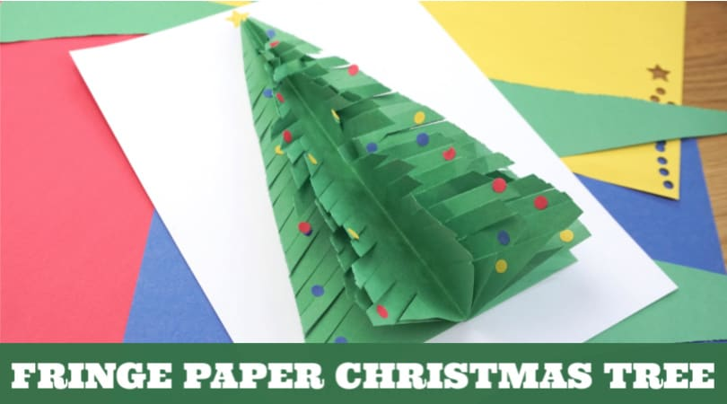 Learn how to make a paper Christmas tree that has an amazing fringe. Kids will love practicing their scissor skills to create this fun construction paper Christmas craft.