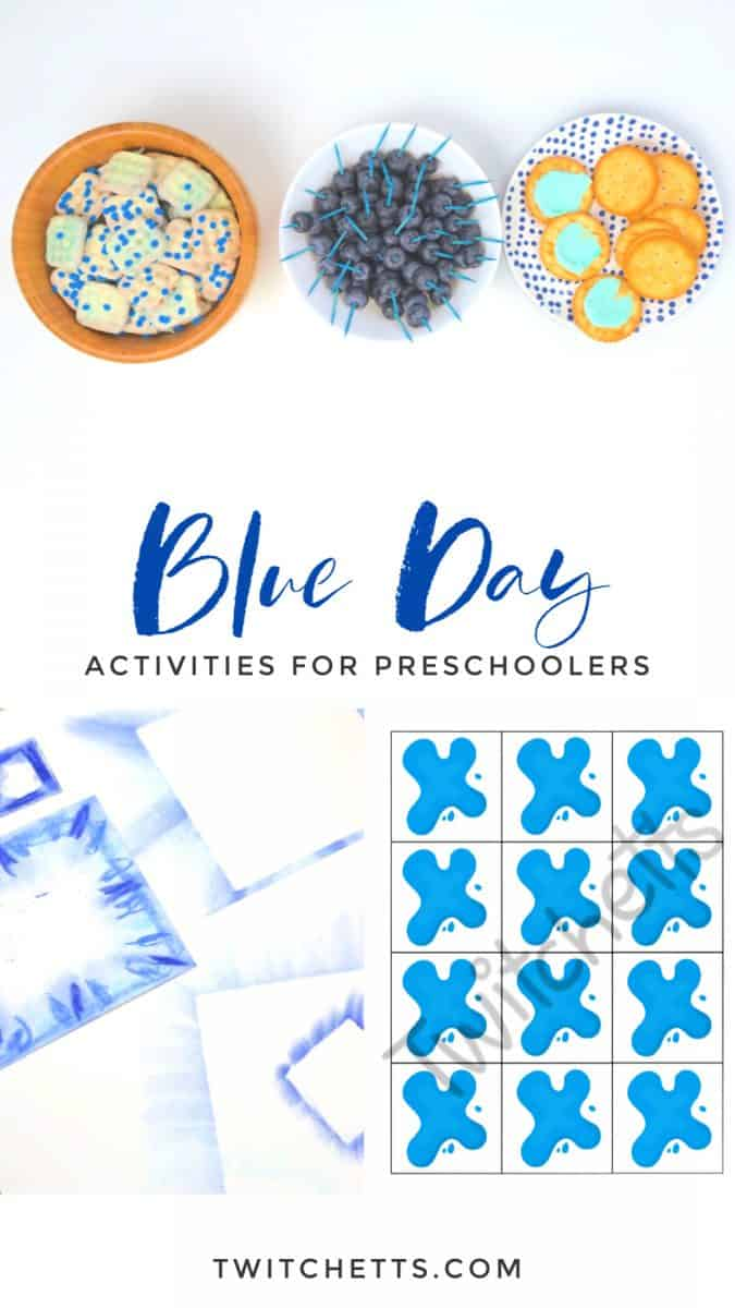 Create memories with these blue day activities for preschool. Your kids will love learning about the color blue while you have a fun celebration. Enjoy blue foods, decorations, crafts, and more. #twitchetts