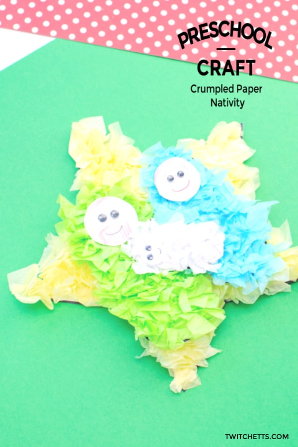 Easy nativity craft for kids of all ages. Perfect for a holiday party or Sunday school class. #twitchetts
