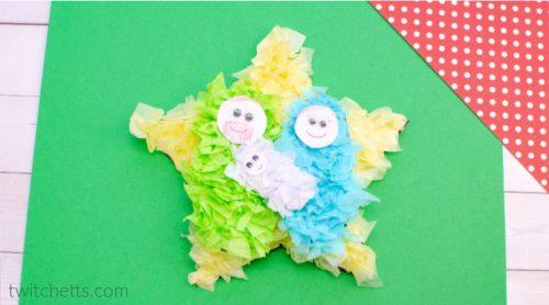 sunday school nativity craft using crumpled tissue paper