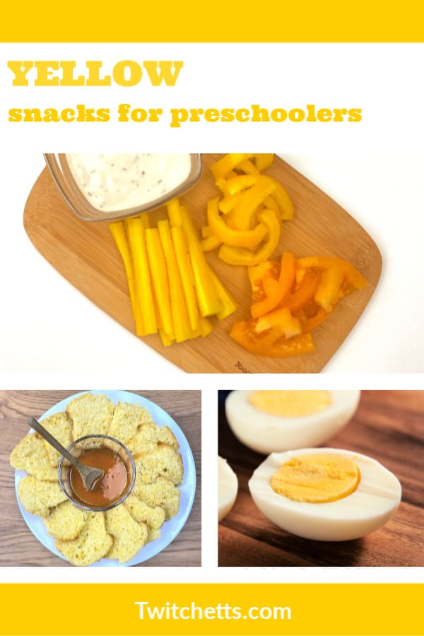 Looking for yummyyellow snacks for preschool?This collection of kid-friendly foods that are yellow in color are perfect for a classroom, party, or just a fun afternoon snack! #twitchetts