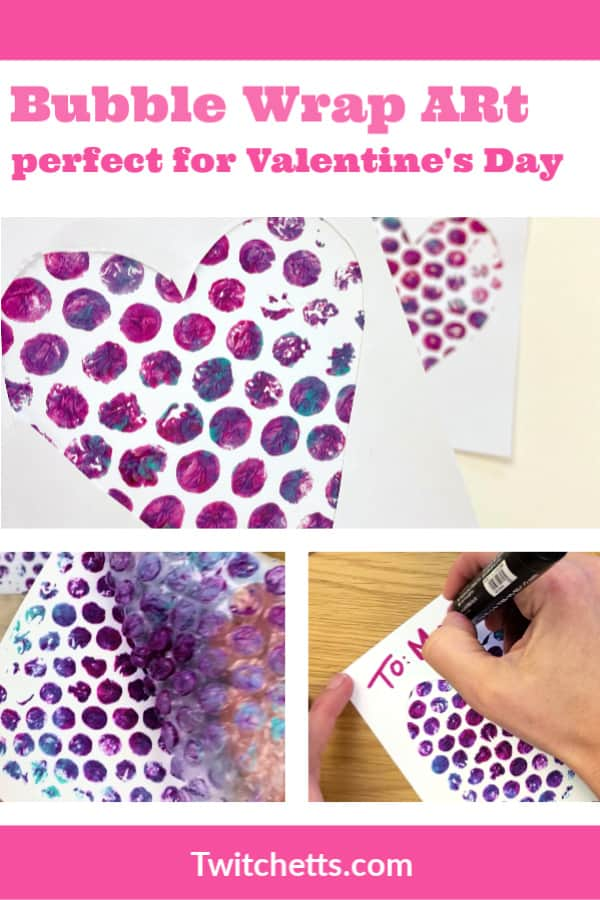 This unique project creates heart art with bubble wrap. It's perfect for a Valentine's day project, or to make a fun gift for mom! #twitchetts