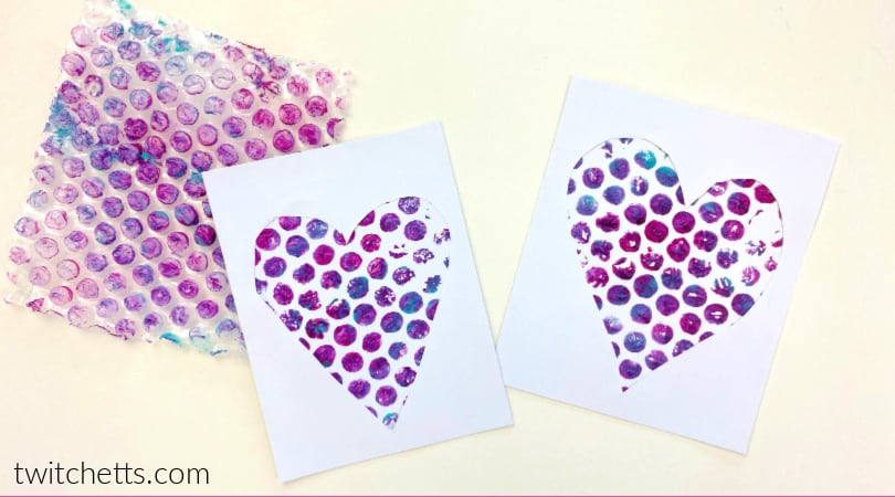 This unique project creates heart art with bubble wrap. It's perfect for a Valentine's day project, or to make a fun gift for mom!