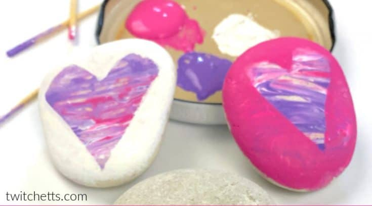 Valentine's Day rock painting idea for kids