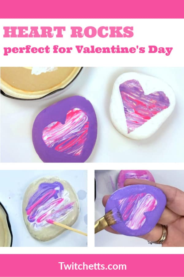 This easy Valentine's Day rock painting idea is perfect for kids to make. Create them to gift to friends or make them with your friends at a Valentine's Day party! #twitchetts