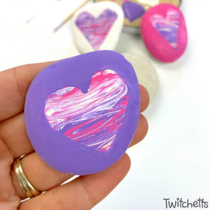 Wet Rock Painted Hearts