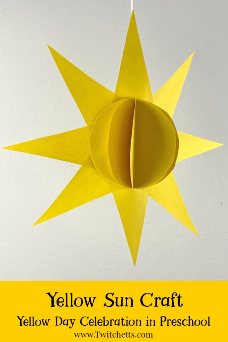 Thissun craft for preschoolersis perfect for a fun yellow day activity or summer craft. Grab your stash of construction paper, some scissors, and glue and you can make an easy 3D paper craft. #twitchetts
