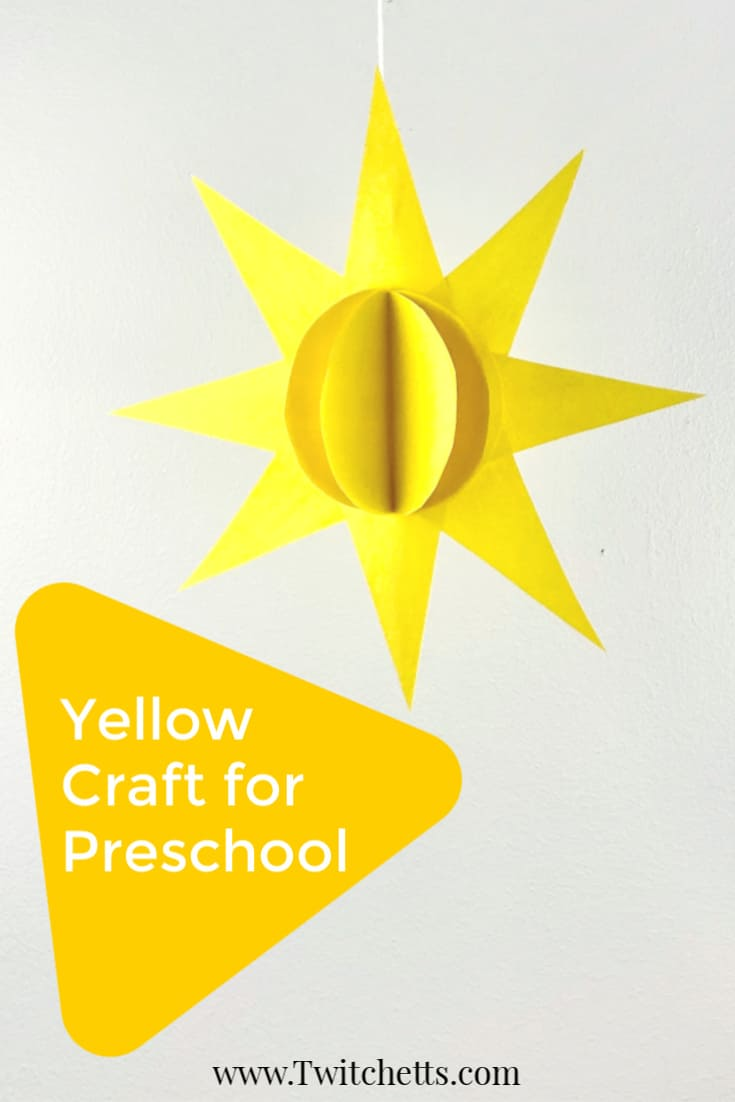 This sun craft for preschoolers is perfect for a fun yellow day activity or summer craft. Grab your stash of construction paper, some scissors, and glue and you can make an easy 3D paper craft. #twitchetts
