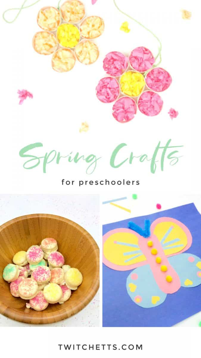 Get inspired by these easy spring crafts for preschoolers. From fun flower crafts, sweet spring treats, and fairy gardens. Perfect for welcoming in the nice weather. #twitchetts